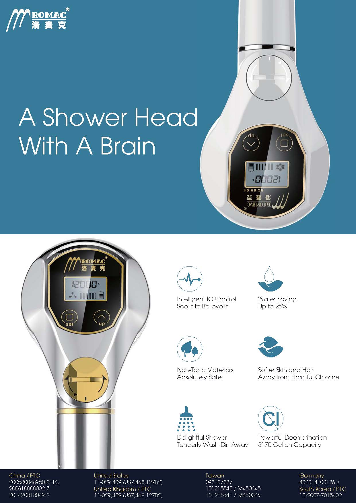 Taiwan intelligent filtered digital shower head - Intelligent shower ...