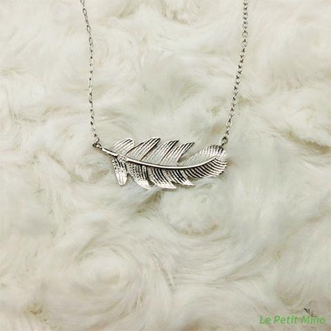 Silver Cedar Leaf Dainty Necklace Platinum-Clad