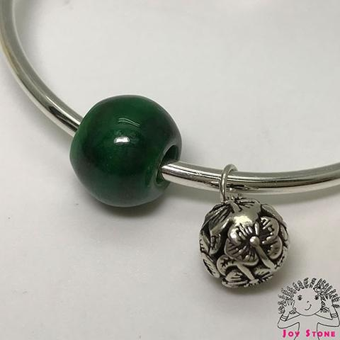 Burma Jade 13.8mm Bead and Silver Charm