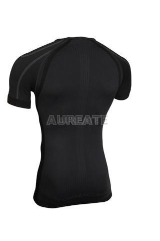 Black Men Tight Shirt GYM Compression Base Layer Short Sleeve Tee Cycling Jersey