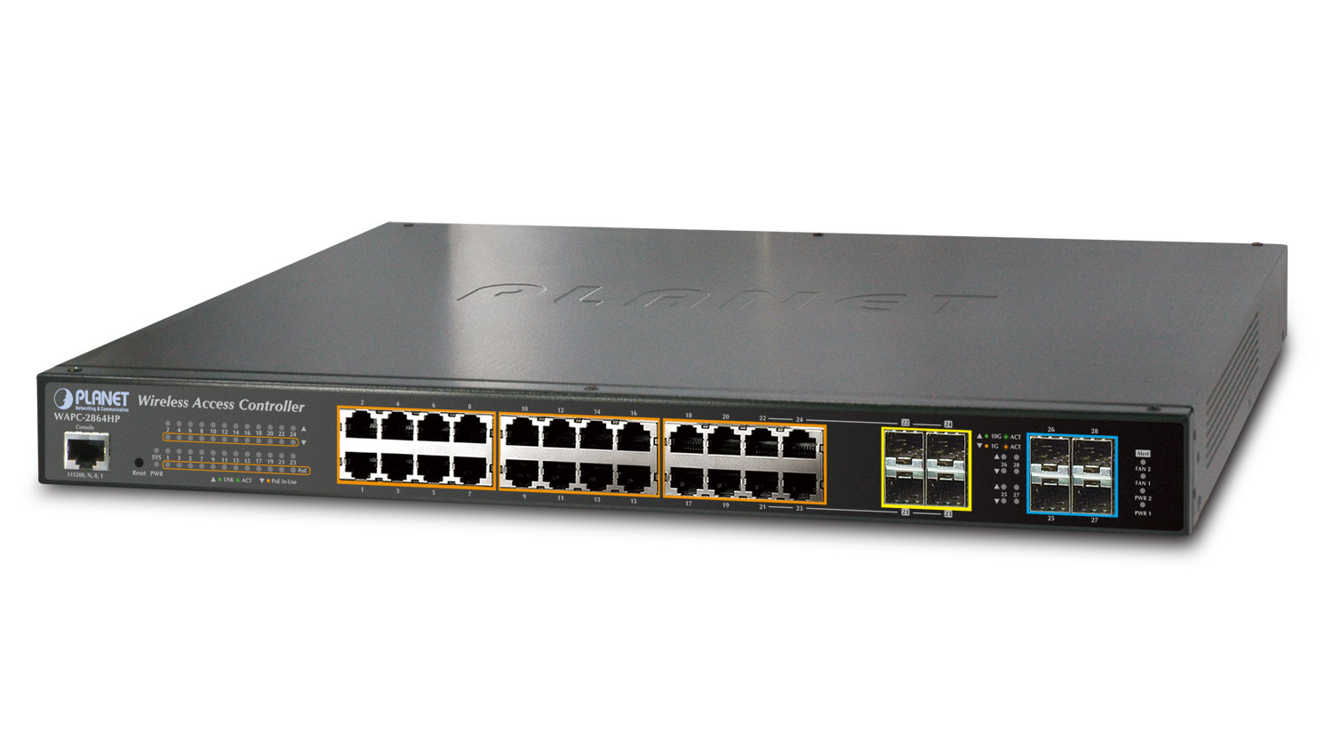 Wireless AP Controller with 24-Port 802.3at PoE + 4-Port 10G SFP+