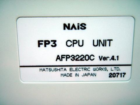 Taiwan MATSUSHITA NAiS FP3 CPU UNIT AFP3220C   Taiwantrade
