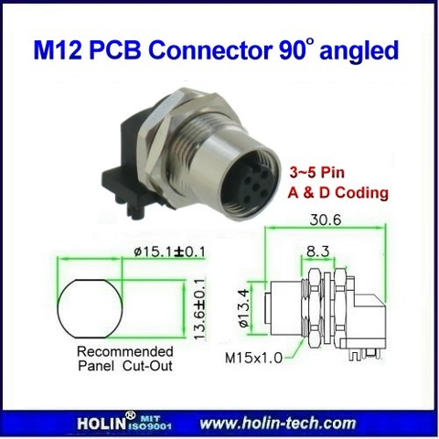 Taiwan M12 Female Panel Mount Connector, Angle Receptacle
