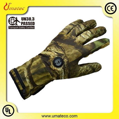 Heated glove liners camouflage with non-slit palm 7.4V 5 finger heaters