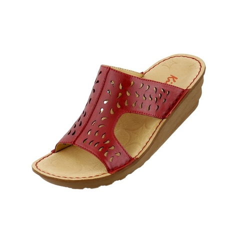 Kimo red drip type grid high-heeled wedge sandals
