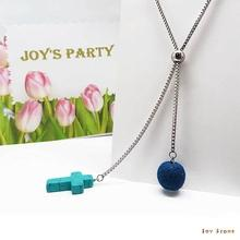 Blue Turquoise Cross Diffuser Y-Necklace Lava Beaded Titanium Steel Mid Length