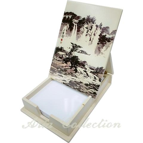 Flip-top note box,  memo storage box, Landscape paintings