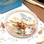 Canplow Sea Life Liquid filled Acrylic Paperweight, Starfish with floating shell, sand, and message bottle