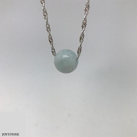 Morganite Silver Necklace 12mm Babyblue Bead Pendant