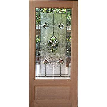 Taiwan French Door Entrance Entry Door Leaded Glass Beveled