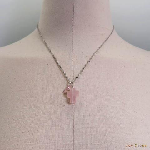 Taiwan Silver Double Cross Necklace Rose Quartz Crystal plus
