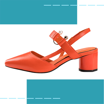 【Robinlo Studio】Delia Orange_Block heels, Ankle Strap Shoes