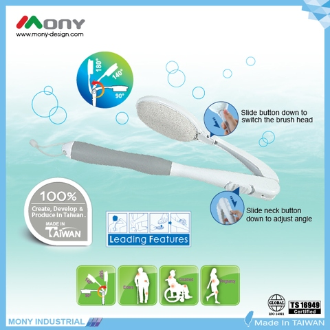 Adjustable Bath Brush with interchangeable brush heads