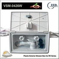 RV exterior shower box, shower sprayer with on/off flow control function