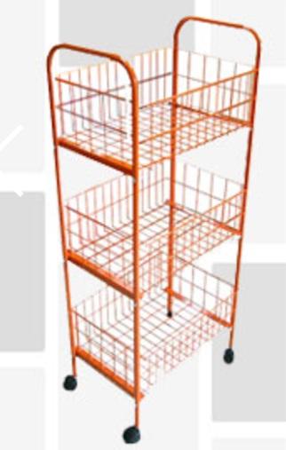 3-Tier Kitchen Cart Wire Basket Storage Cart with Wheels ...