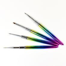 Rainbow kolinsky hair 3D  detailer gel nail art brushes