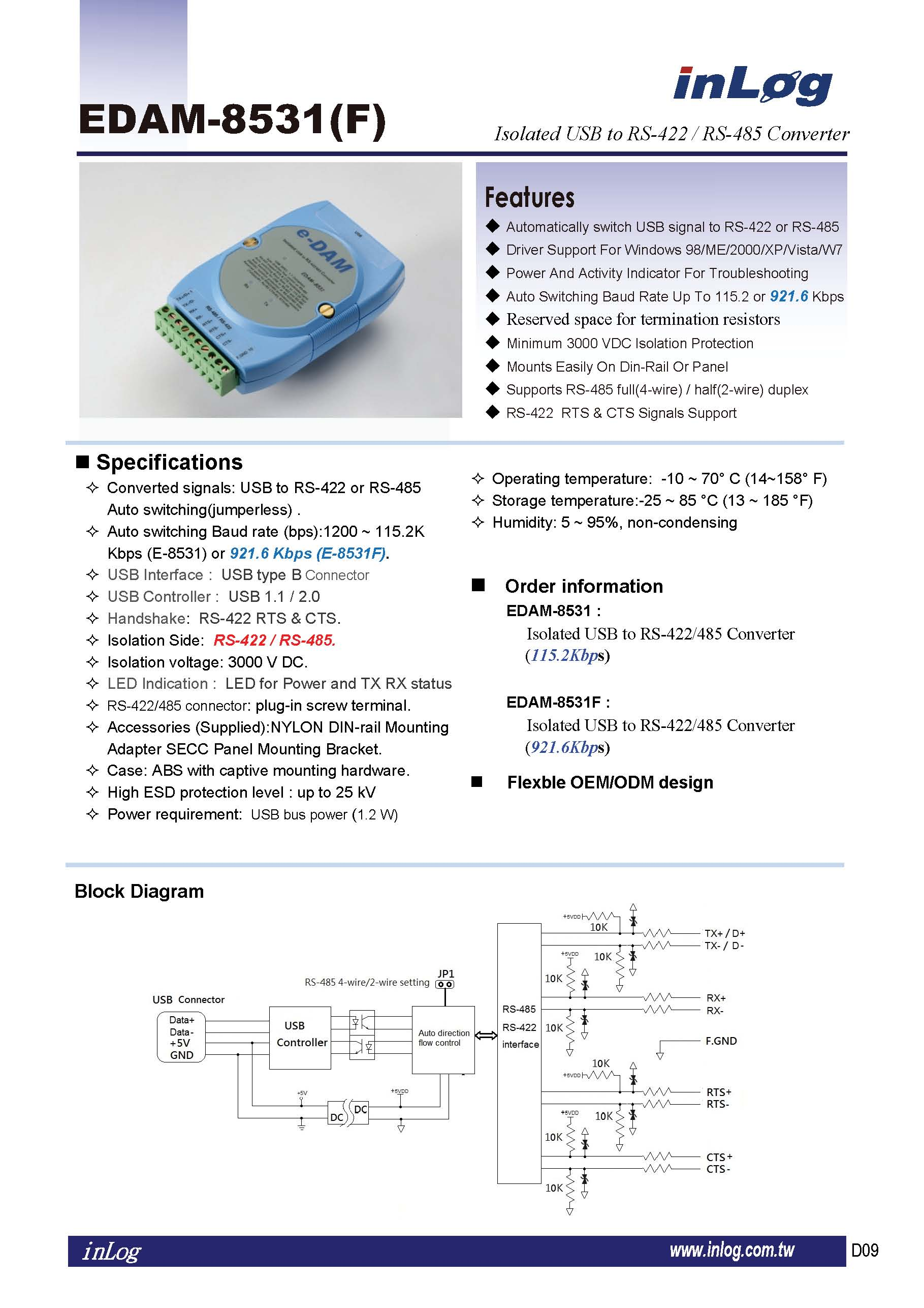 Taiwan Isolated Usb To Rs 422 485 Converter Inlog Micro Diagram 2wire
