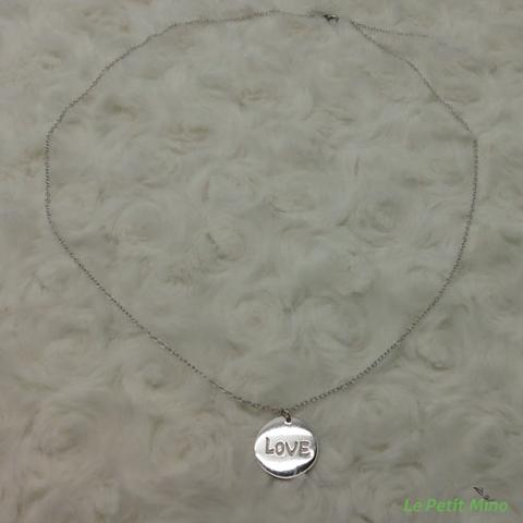 925 Silver Necklace Round LOVE Chinese English Character