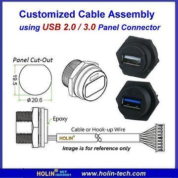 Taiwan Waterproof USB 2.0 Panel Mount Connectors | HTP ASIA ... on usb power wiring diagram, micro usb connector wiring diagram, usb 2.0 connector pinout,