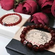 Red Agate Bracelets Lovers Set 6mm 10mm Beads Precious Stones Gift Box