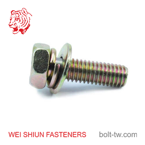 bolt with spring washer integrated-hex head bolt m6x25