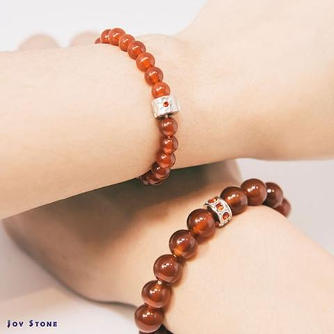 Red Agate Lovers Set 6mm+10mm Beaded Bracelets