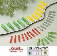 "Plastic Screw Anchors ""Square Type"""