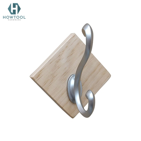 Wooden Wall Chrome Hook,Stick on Wall Adhesive Hangers,Self Adhesive Hooks for Kitchen Bathroom Home Door Towel Coat-NW31313