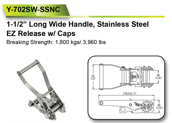 38mm 1800 KGS 304 Stainless Steel Ratchet Buckles for Straps