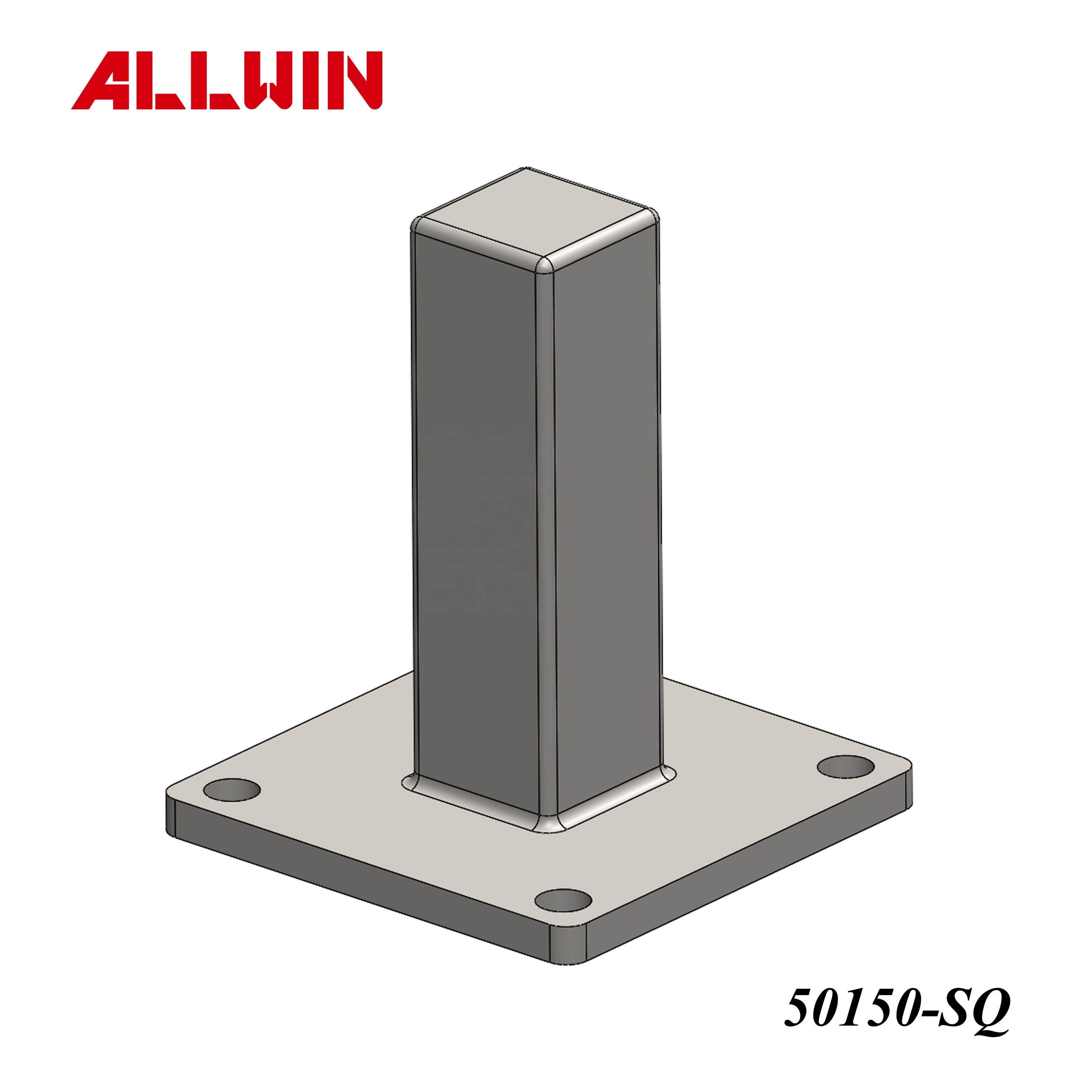 No Welding Require Stainless Steel Handrail Railing Surface Mounted Square Post Base Plate