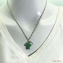 Silver Double Cross Aventurine Necklace Crystal plus Micro-Inlaid Emerald Zircon Pendant