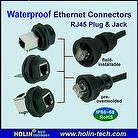 Waterproof Ethernet RJ45 Connectors, Panel Mount Jack / Shielded, Molded Cable Assembly / Plug, Field Installable / Plug