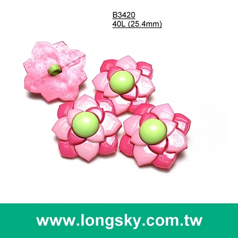 (#B3420) kids garment flower buttons, craft ,apparel button