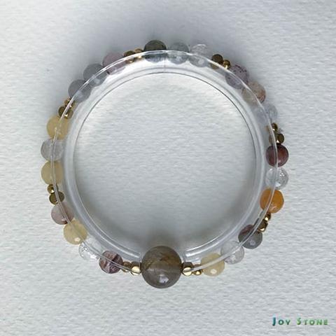 Rutilated Quartz Copper Bead Charms Wealth Bracelet Beads Precious Stones
