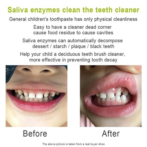 Saliva enzymes clean the teeth cleaner