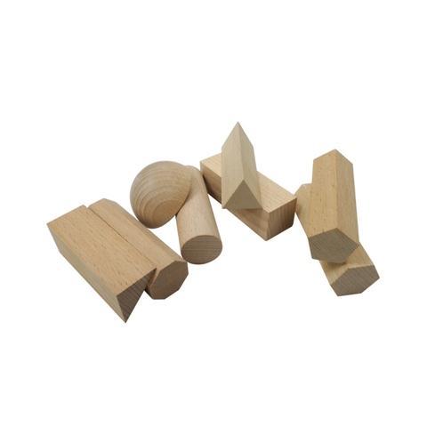 25mm, 8 Shapes Plain Wood Geo Blocks Set