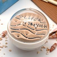 Canplow Sandglobe Paperweight 3- inch Round, Flip Over to see (Life's a Beach) & (Footprints), Beach sand