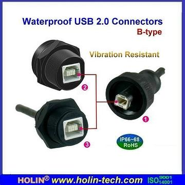 Waterproof USB 2.0 Cable to Cable , Cable to Panel Connectivity
