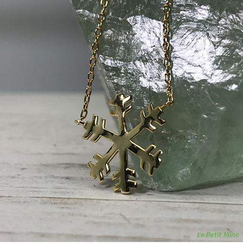 925 Silver Necklace Snowflake Gold Clad