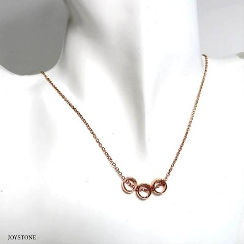 3 Circle Bubbly O-Ring Necklace Titanium Steel Chain