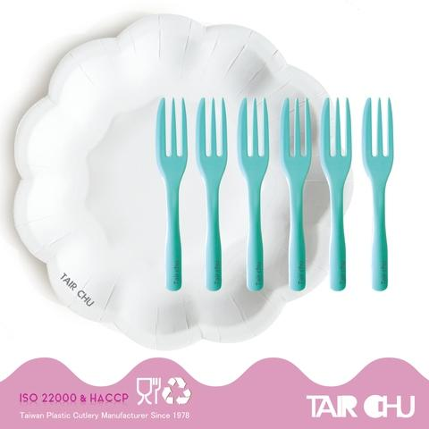 Flower Shape Plate and Mint Green Cake Fork Disposable Cutlery(6+6)