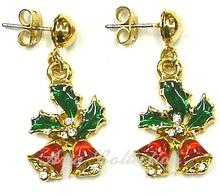 Christmas Bell Earring  Enamel Post Earring Xmas Jewelry