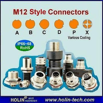 Taiwan M12 Style Connectors With A B C D P X Coding For