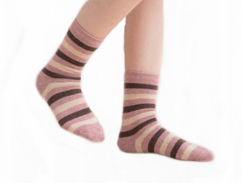 Socks, Deparee Wool-Blend Striped Cozy Crew Socks