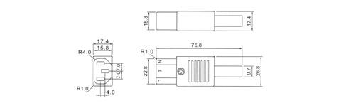 AC connector W/approval, 250V 10A