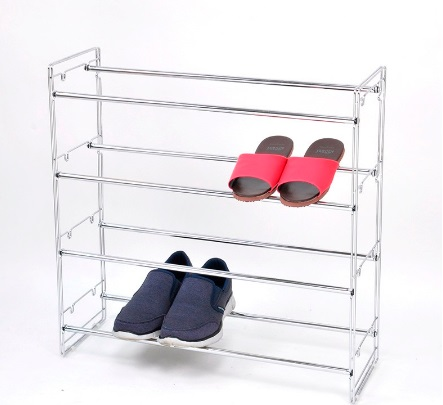 Durable 4 Tier Chrome Plated Metal Shoe Rack Display