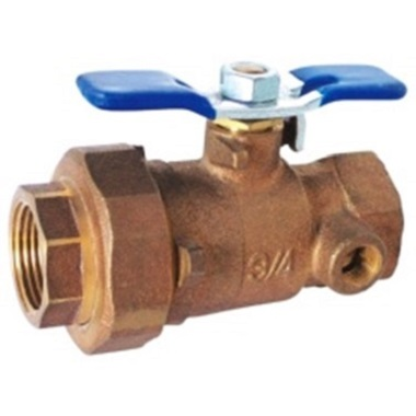 2-PC BALL VALVE, UNION END+THREADED, WITH WASTE DRAIN
