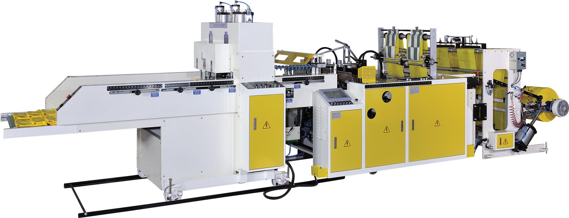 Super high speed fully automatic T-shirt bag making machine with 2 photocells & double servo motor control