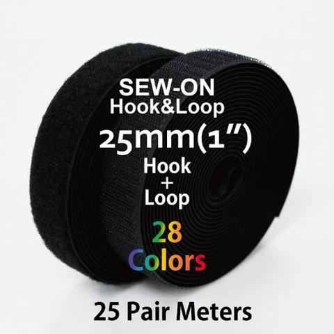 """25mm(1"""") Width 25 Pair Meters Sew-On Hook & Loop"""