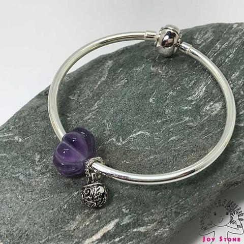 925 Silver Bracelet Amethyst 14.6x8.5mm Squash Bead Silver Charm Pendant